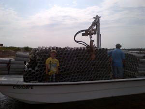 The skiff loaded down with cement-covered spat collectors